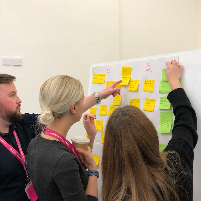Three of my colleagues adding post-its to a whiteboard